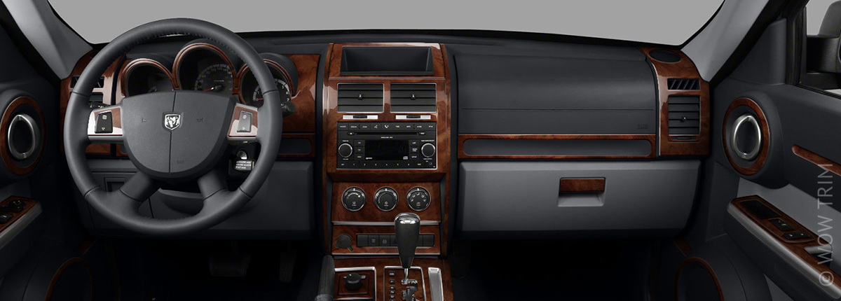 Dash Kits for Dodge Nitro - wood grain, camo, carbon fiber & aluminum dash trim kits