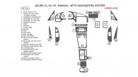 Acura CL 2001, 2002, 2003, Interior Kit, Manual, With Navigation, 24 Pcs., OEM Match.