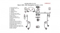Acura MDX 2001, 2002, 2003, Interior Dash Kit, With Navigation System, 6 CD Changer, 25 Pcs., OEM Match.