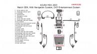 Acura MDX 2001, 2002, 2003, Interior Dash Kit, With Navigation System, Interior Dash Kit, With DVD Entertainment System, 25 Pcs., OEM Match.