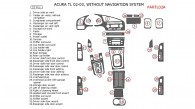 Acura TL 2002-2003, Interior Dash Kit, Without Navigation, 33 Pcs., Match OEM