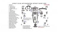 Acura TL 2004, 2005, 2006, With Navigation System, Full Interior Kit, 45 Pcs.
