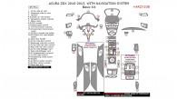 Acura ZDX 2010, 2011, 2012, 2013, With Navigation System, Basic Interior Kit, 45 Pcs.