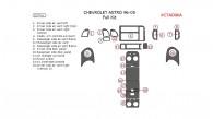 Chevrolet Astro 1996, 1997, 1998, 1999, 2000, 2001, 2002, 2003, 2004, 2005, Full Interior Kit, 22 Pcs