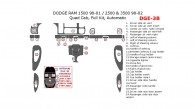 Dodge RAM 1500 1998, 1999, 2000, 2001, RAM 2500/3500 1998-1, 2002, Quad Cab, Full Interior Kit, Auto, 24 Pcs.