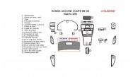 Honda Accord 1998, 1999, 2000, Coupe, Interior Dash Kit, Addition To OEM, 22 Pcs., Match OEM