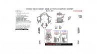 Honda Civic 2012, With Navigation System, Basic Interior Kit (Sedan Only), 26 Pcs.