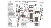 Honda Pilot 2006, 2007, 2008, EX, Full Interior Kit, Without Navigation System, 62 Pcs.