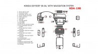 Honda Odyssey 1999, 2000, 2001, 2002, 2003, 2004, Interior Dash Kit, With Navigation System, 25 Pcs.