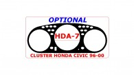 Honda Civic 1996, 1997, 1998, 1999, 2000, Interior Dash Kit, Optional Speedometer Cluster, 1 Pcs.