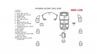 Hyundai Accent 2001, 2002, 2003, 2004, 2005, Full Interior Kit, 15 Pcs.
