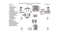 Nissan Altima 2005-2006, Interior Dash Kit, Sedan, Regular, Without Navigation, With OEM, 49 Pcs.