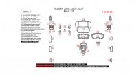 Nissan Juke 2015, 2016, 2017, Basic Interior Kit, 34 Pcs.