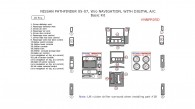 Nissan Pathfinder 2005, 2006, 2007, W/o Navigation System, With Digital A/C, Basic Interior Kit, 18 Pcs.