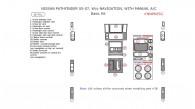 Nissan Pathfinder 2005, 2006, 2007, W/o Navigation System, With Manual A/C, Basic Interior Kit, 16 Pcs.
