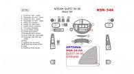 Nissan Quest 2004, 2005, 2006, Basic Interior Kit, 22 Pcs.