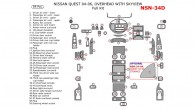 Nissan Quest 2004, 2005, 2006, Full Interior Kit, With SkyView, 59 Pcs.