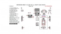 Mercedes C-Class 2008, 2009, 2010, 2011, Right Hand Drive, Main Interior Kit, 33 Pcs.