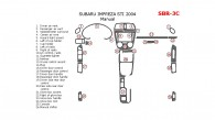 Subaru Impreza 2002, 2003, 2004, STI 2004, Interior Dash Kit, Manual, 26 Pcs.