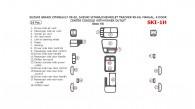 Chevrolet Tracker 1999, 2000, 2001, 2002, 2003, 2004, Suzuki Grand Vitara/XL-7 1999-2002, Suzuki Vitara 1999-2004, Manual, 4 Door, Center Console With Power Outlet, Basic Interior Kit, 18 Pcs.
