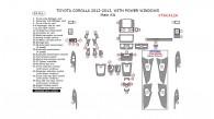 Toyota Corolla 2012-2013, With Power Windows, Main Interior Kit, 49 Pcs.