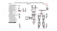 Toyota Corolla 2012-2013, W/o Power Windows, Main Interior Kit, 43 Pcs.