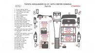 Toyota Highlander 2001, 2002, 2003, 2004, 2005, 2006, 2007, Full Interior Kit, With Center Console Interior Kit, 25 Pcs.