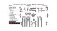 Toyota Prius 2012, 2013, 2014, 2015, Without Head-up Display (HUD), Basic Interior Kit, 40 Pcs.
