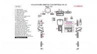 Volkswagen Beetle 2006, 2007, 2008, 2009, 2010, Convertible, Basic Interior Kit, 37 Pcs.