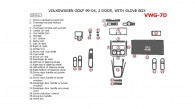 Volkswagen Golf 1999, 2000, 2001, 2002, 2003, 2004, Interior Dash Kit, 2 Door, With Glove Box, 26 Pcs.