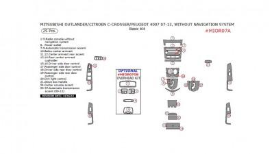 Citroen C-Crosser / Mitsubishi Outlander / Peugeot 4007 2007-2013, W/o Navigation System, Basic Kit, 25 Pcs.
