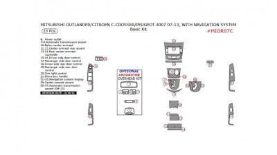 Citroen C-Crosser / Mitsubishi Outlander / Peugeot 4007 2007-2013, With Navigation System, Basic Kit, 23 Pcs.