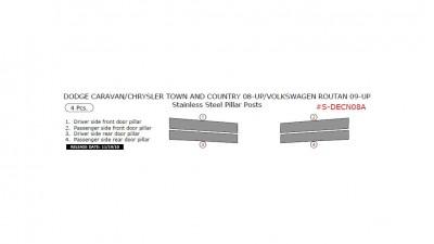 Dodge Caravan/Chrysler Town & Country 2008-up/Volkswagen Routan 22009-up, Stainless Steel Pillar Posts, 4 Pcs.