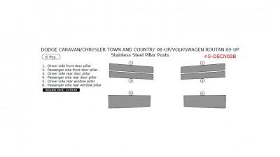 Dodge Caravan/Chrysler Town & Country 2008-up/Volkswagen Routan 2009-up, Stainless Steel Pillar Posts, 6 Pcs.