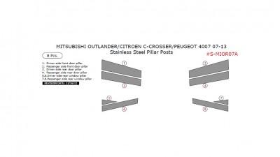 Mitsubishi Outlander/Citroen C-Crosser/Peugeot 4007 2007-2013, Stainless Steel Pillar Posts, 8 Pcs.