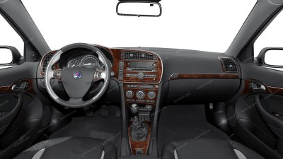 Saab 9-3 Sedan 2007, 2008, 2009, 2010, 2011, Interior Dash Kit, With Manual Transmission, Full Kit (Over OEM Trim), 28 Pcs.