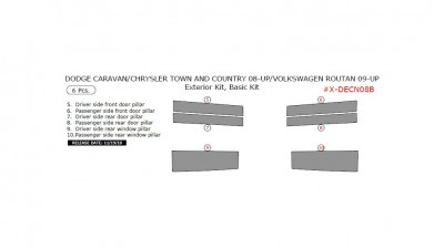 Chrysler Town & Country 2008-2010, Dodge Caravan 2008-2010, Volkswagen Routan 2009-UP, Exterior Kit, Basic Kit, 6 Pcs.