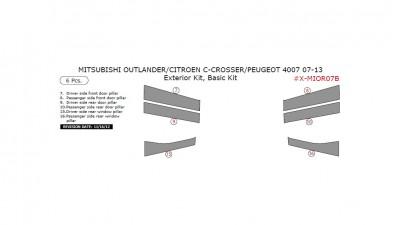 Citroen C-Crosser / Mitsubishi Outlander / Peugeot 4007 2007-2013, Exterior Kit, Basic Kit, 6 Pcs.